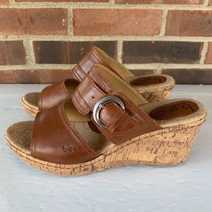 BOC leather slip on cork wedge sandals